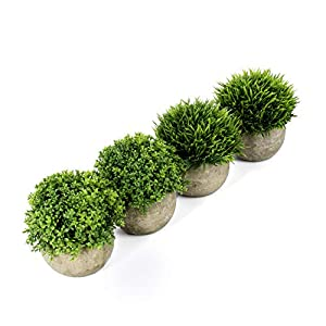 U'Artlines Artificial Plastic Mini Plants Topiary Shrubs Fake Plants with Gray Pot for Bathroom,House Decorations (4pcs Green Pattern 1)