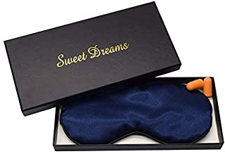 High Quality Super Comfortable 100% Real Silk Luxury Dark Blue Sleeping Eye Mask and Ear Plugs