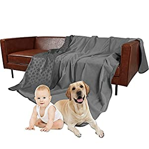 SMILETIME Waterproof Pet Throw Blanket for Bed, Water-Resistant Soft Dogs Cover for Sofa, Couch and Furniture Protector, Incontinence Bed Underpads for Cats (40 X 60 Inch, Dark Grey and Grey)
