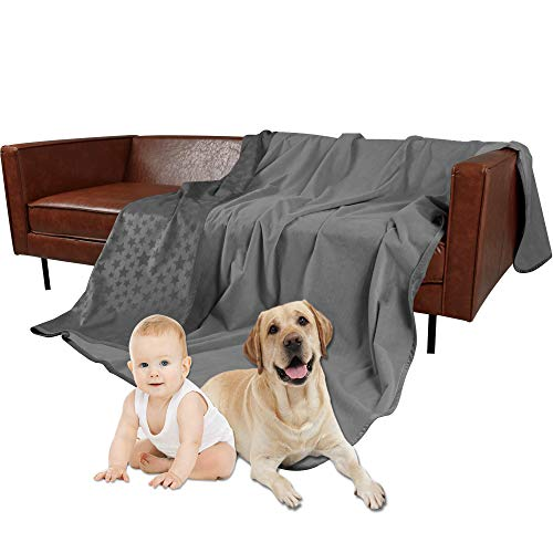 W-ZONE Waterproof Dog Bed Cover Pet Blanket for Furniture Bed Couch Sofa Reversible (82102, Grey+Dark Grey)