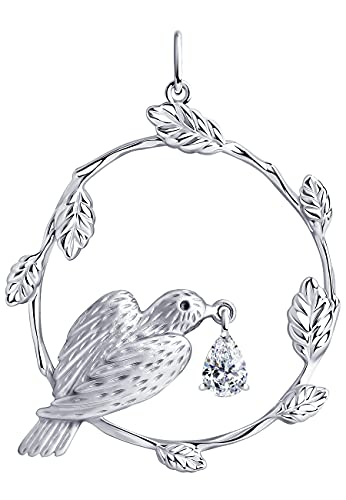 Colgante de pájaro en rama de plata 925 con cristales Swarovski