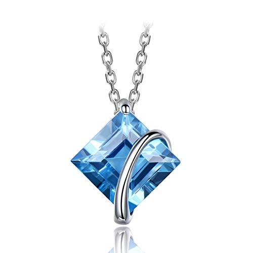 qwertyuio Collar con Colgante para Mujer, Collares con Colgantes De Topacio Azul Natural para Mujer, Collar De Plata De Ley 925 Auténtica, Regalo De Boda