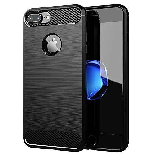 Cadorabo Cover per Apple iPhone 7 PLUS / 7S PLUS - Cover in BRUSHED NERO - Cover per Cellulare Realizzata in Silicone TPU in Acciaio Inox Fibra di Carbonio - Protettiva Custodia Morbida Ultra Sottile