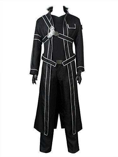 Cosfun Kirigaya Kazuto Cosplay Costume Full Outfit Black mp003071 (Men XL)