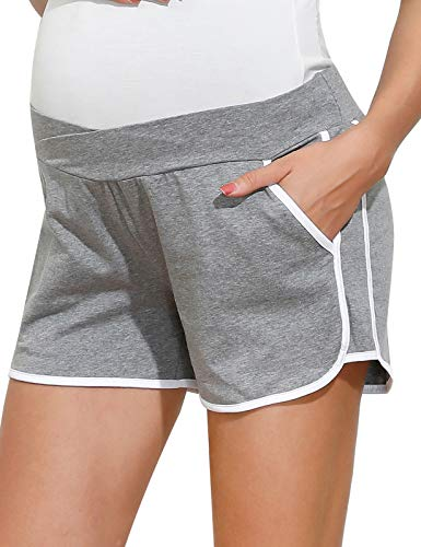 Maacie Maternity Women's Maternity Relaxed Fit Sleep Cotton Shorts Grey S