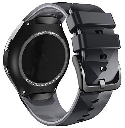ANBEST Uhrenarmband Kompatibel mit Samsung Gear S2 Armband Sport Silikon Erstatzarmband für Gear S2 SM-R720/SM-R730 für Männer & Frauen, Schwarz/Grau, Groß, (Nicht für Gear S2 Classic SM-R732)