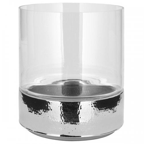 Fink - Windlicht, Kerzenleuchter mit Edler Hammerschalgoptik - Nido - Glas, Metall - Ø: 25 cm