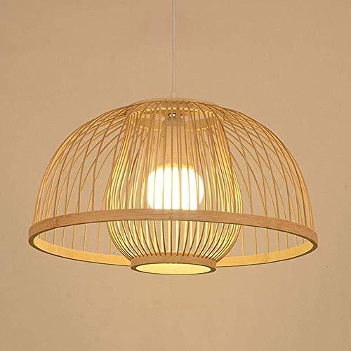 Bamboe Kroonluchter Creatieve Handgeweven lantaarn Kroonluchter E27 Indoor Verlichting Plafond Lamp Slaapkamer Loft Decoratieve Verlichting, Rieten Rotan Geweven Lamp (Maat: 50CM)