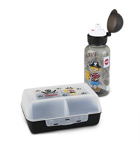 Emsa 518136 Kinder Set Trinkflasche + Brotdose; Motiv: Pirat; BPA frei; Material: Trinkflasche aus Tritan (bruchfest und unbedenklich), Brotdose aus Kunststoff
