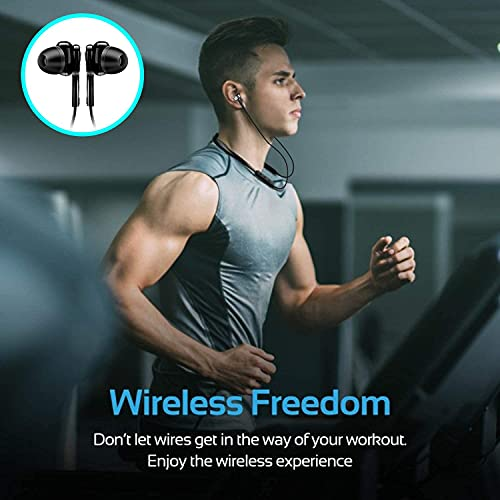 Bluetooth 5.0 Wireless Headphones with Hi-Fi Stereo Sound, 8Hrs Playtime, Lightweight Ergonomic Neckband Earphone, Sweat-Resistant Magnetic Earbuds, Voice Assistant & Mic (Black, et147)