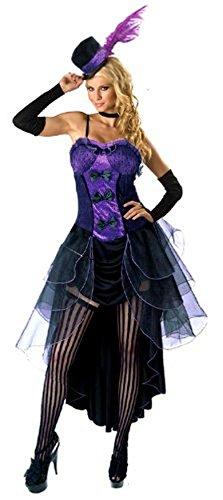 Forever Young - disfraz morado de Burlesque estilo Moulin Rouge, con Can Can, de mujer, con gorro y guantes
