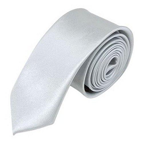 OM3 Silberne schmale Krawatte Herren Smoking Slim Uni Tie Hochzeit Business Schlips dünn Handmade (SILBER)
