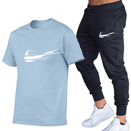 DREAMING-Primavera y verano, cuello redondo, deportes de ocio, estampado de letras, camiseta fina de manga corta para hombre + pantalones, traje de dos piezas XL