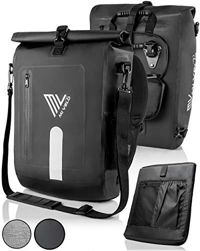 MIVELO - 3 in 1 Fahrradtasche - Rucksack - Schultertasche wasserdicht, inkl. Laptopfach, für Fahrrad Gepäckträger Aller Art, schwarz