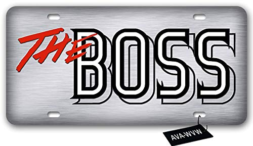 AVA-WVW The Boss License Plate | Funny Novelty Vanity Front License Plate Frame Cover Gift for Men Women | Decorative Metal Car Plate Sign Auto Tag | High Gloss Aluminum Plate 6 X 12 Inch (4 Holes)
