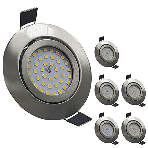 Pack 6x Downlight LED Empotrable Redondo Orientable LED 7w. Color Blanco Neutro (4500K). Material Acero. Solo 25mm de Altura. 700 Lumenes. Ceiling Integrado Directo a 220V. A++