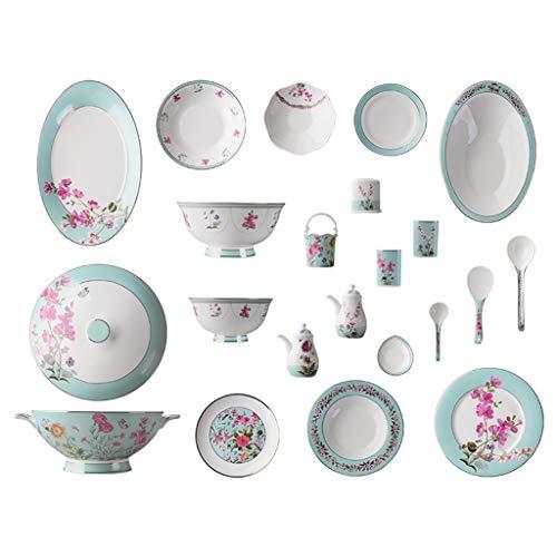 FDPVJSS Juego de Cena Combi-Set, Platos de Porcelana, Plato, cucharas, para hornos de microondas, lavavajillas (Tamaño : 62pcs)