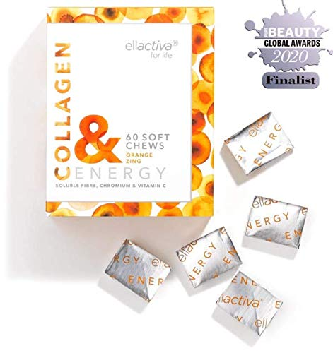 Ellactiva Collagen& Energy I With Vit C, Soluble Fibre & Chromium I 60 Soft Chews I Orange Zing I No Added Sugar