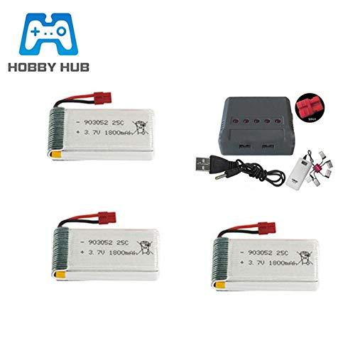 SHUGJAN 3.7v 1800mAh lipo Batería + Cargador por KY601S SYMA X5 X5S X5c X5SC X5SH X5SW X5UW X5HW M18 H5P HQ898 H11D H11C RC Drone Parts Piezas de montaje RC (Color : 3pcs x5hw)