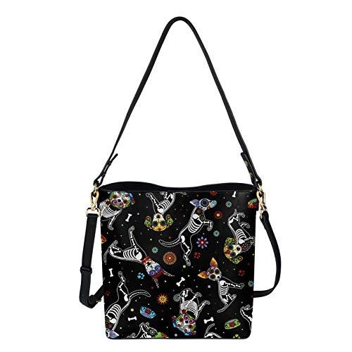 HUGS IDEA Bolsos de mano para mujer, de piel sintética, diseño de calavera, de moda, estilo tribal floral, bolsas de gran capacidad, color Multicolor, talla Medium