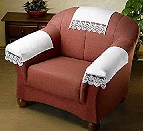 Wenko Sesselschoner Sessel Schoner Sesselauflage mit Spitzenborte Spitzenborde Spitze in Shabby Vintage Landhaus Look