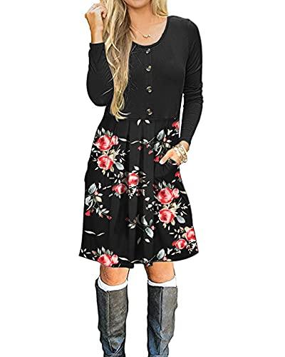 AUSELILY Damen Langarm Plissee Loose Swing Freizeitkleid mit Taschen Knielang(Schwarze Rose Schwarz,XXL)