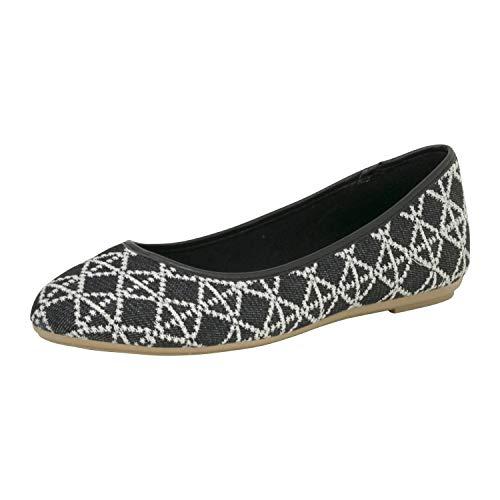 Fitters Footwear That Fits Damen Ballerina Jessica Jeans Jeans Ballerina mit Muster Bestickt Übergröße (43 EU, schwarz)