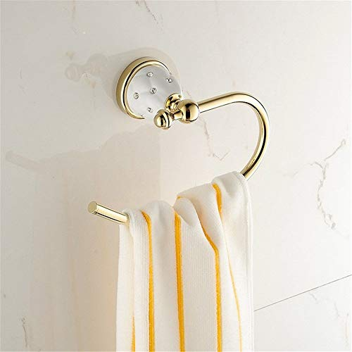 RVS Wandmontage Handdoek Rek Open End Handdoek Ring Badkamer Ronde Handdoek Ring, Luxe Gouden Handdoek Ringen Met Strass Steentje, Klassieke Europese RVS Handdoek Rek Houders Plank stora