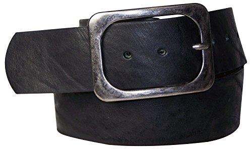 Fronhofer Ceinture de 5 cm de large à boucle rectangulaire couleur gris antique, cuir naturel véritable, 17577, Taille:Taille 110 cm, Couleur:Noir