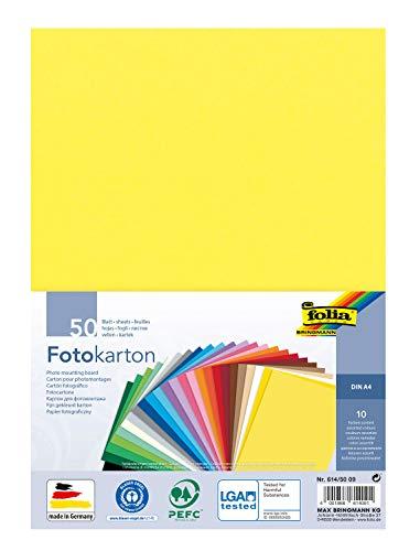 folia 614/50 09 - Fotokarton Mix, DIN A4, 300 g/m², 50 Blatt, sortiert in 10 Farben, zum Basteln und kreativen Gestalten von Karten, Fensterbildern und für Scrapbooking