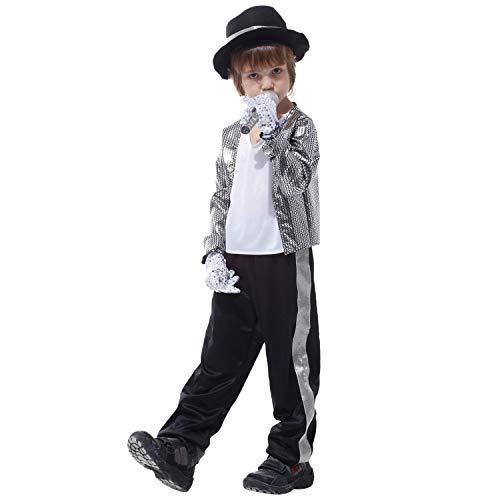 semen Kinder Kostüm Jungen Halloween Verkleidung Michael Jackson Fasching Anzug Mit Hut Silber
