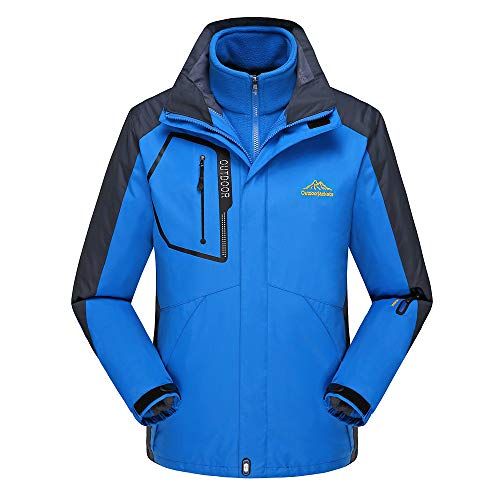 Amphia - Herrenjacke 3-in-1-jacke Wasserdicht Winddicht Atmungsaktiv Jacke,Regenjacke Arbeitsjacke Wandern Windjacke - Herren Fleece Liner Outdoor Plus Size Hoodie Zweiteiler Sport Assault Coat