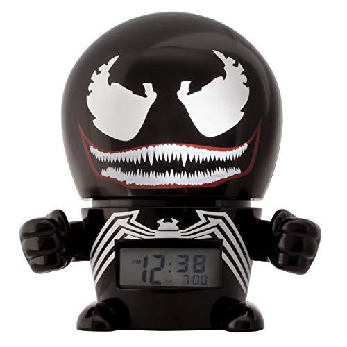Bulb Botz Marvel 2021715 Venom Kids Night Light Characterised Sound | Black/red | Plastic | 5.5 inches Tall | LCD Display | boy Girl | Official Alarm Clock