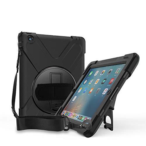 ProCase Rugged Custodia per iPad 2 3 4, Bambino Shockproof Cover Protettiva Antiurto Rotante con Hand Strap Kickstand Shoulder Belt per Apple iPad 2 iPad 3  iPad 4 –Nero