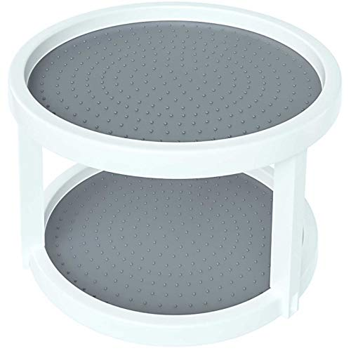 """Home Intuition 2-Tier Twin Turntable Non Skid Lazy Susan 8.75 Inch Inner 9.75"""" Outer Diameter for Cabinets and Pantry, White Grey"""