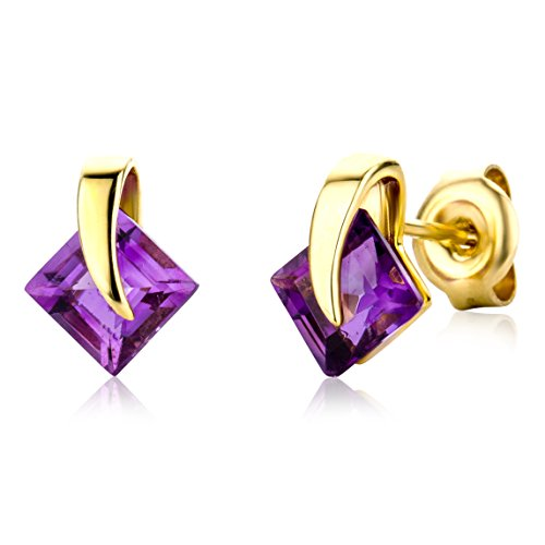 Miore 9ct Yellow Gold Amethyst Stud Earrings MG9075E