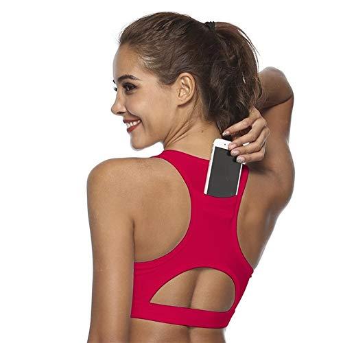 N/A 1 Stück Top Damen Sport BH mit Handy-Tasche Kompression Push Up Unterwäsche Top Frauen Gym Fitness Laufen Yoga Bh Sport BH (Farbe: Schwarz, Größe: S)