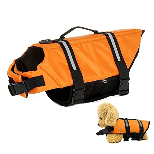 Schwimmweste für Hunde,Tianher Hundeschwimmweste für Große Hunde mit Griff Reflektierend Badeanzug Warnweste Justierbarer Haustier Float Coat Verstellbare Schwimmweste Schwimmtraining L