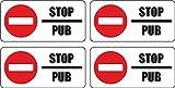Set 4x autocollant sticker boite aux a lettre pas de pub stop interdit anti