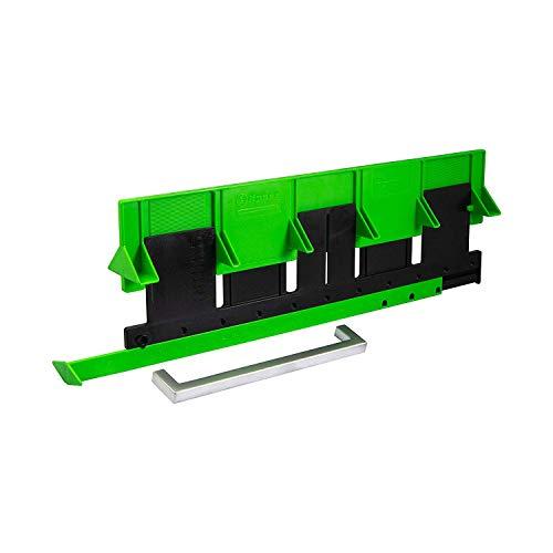 Gedotec Bohrschablone Bohrlehre für Möbelgriffe Küche & Knöpfe - GREEN JIG | Kunststoff schwarz/grün | Montage-Hilfe für Griffe an der Schubladenfront | 1 Stück - Bohr-Schablone für Schrank-Griffe