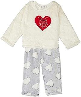 Giggles Long Sleeves T-shirt with Hearts Print Elastic Waist Pants Eyelash Knit Pajama Set for Girls