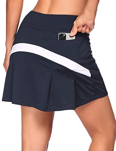 COOrun Damen Sport Rock Tennis Rock Golf Yoga Skort mit Innenhose Taschen Mini Skirt, Dunkelblau, L