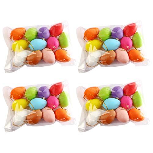 jojofuny 48 Pezzi di Plastica Uova di Pasqua Ornamenti Stampabili Appesi Uova Colorate Vuote Graffiti Uova per Fai da Te Gioco di Caccia alle Uova di Pasqua Primavera Decorazione Albero di
