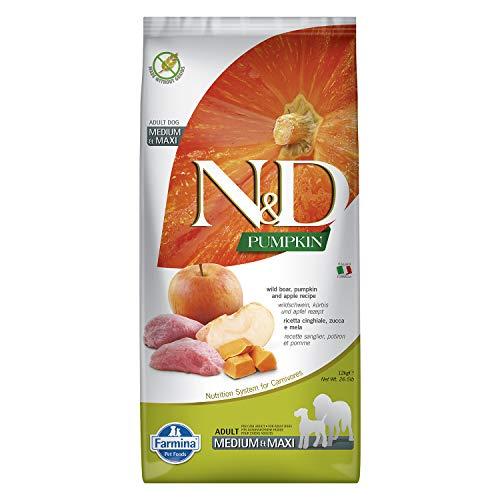 Farmina N&D, cibo per cani Adulti, taglia media/grande, Grain Free ,12 kg, al Cinghiale, Zucca e Mela