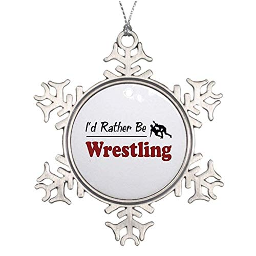 Rebbygena Novelty Decoration Rather Be Wrestling Christmas Ornaments Metal Snowflake Christmas Tree Hanging Keepsake 3 Inches Xmas Tree Hanging