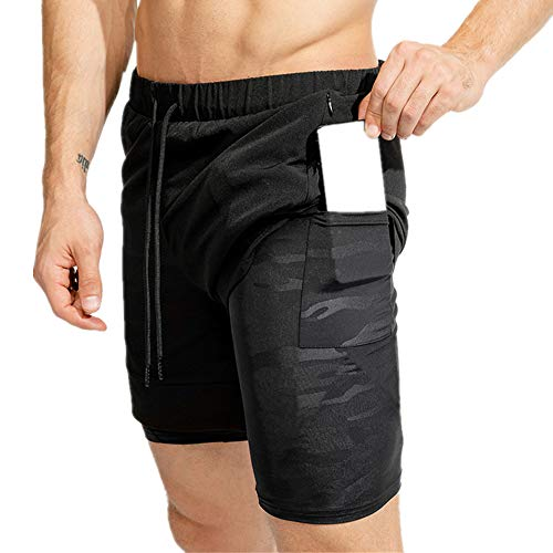 FLYMOON Mens 2 in 1 Running Shorts Gym Workout Athletic Training Compression Underwear Liner with Zipper Pocket