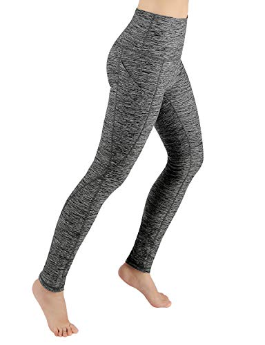 ODODOS Women's High Waist Yoga Pants with Pockets,Tummy Control,Workout Pants Running 4 Way Stretch Yoga Leggings with Pockets,CharcoalHeather,Medium