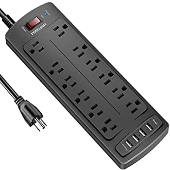 Power Strip with 8 Ft POWLIGHT Surge Protector with 12 AC Outlets and 4 USB Ports,1875W/15A 2100 Joules 8 Feet Long Extension Cord for Smartphone Tablets Home,Office Hotel- Black
