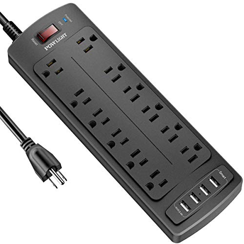 POWLIGHT Surge Protector with 12 AC Outlets and 4 USB Ports  Only $20.38!