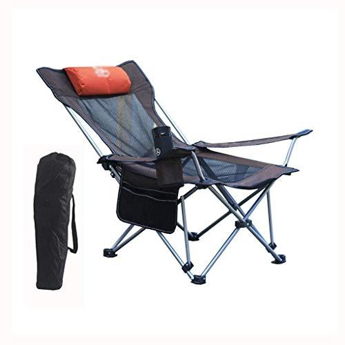 WSDSX Sillón reclinable Plegable para Acampar, Pesca, sillón, sillón Plegable con Respaldo Perezoso para el Almuerzo al Aire Libre con portavasos y Bolsa de Almacenamiento, reclinable
